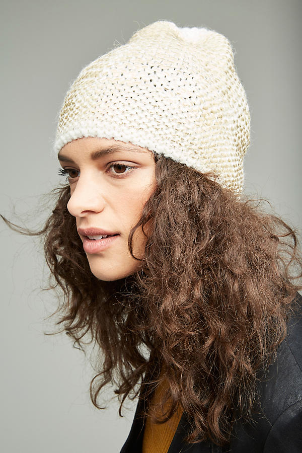 Slide View: 2: Sannita Metallic Knit Beanie