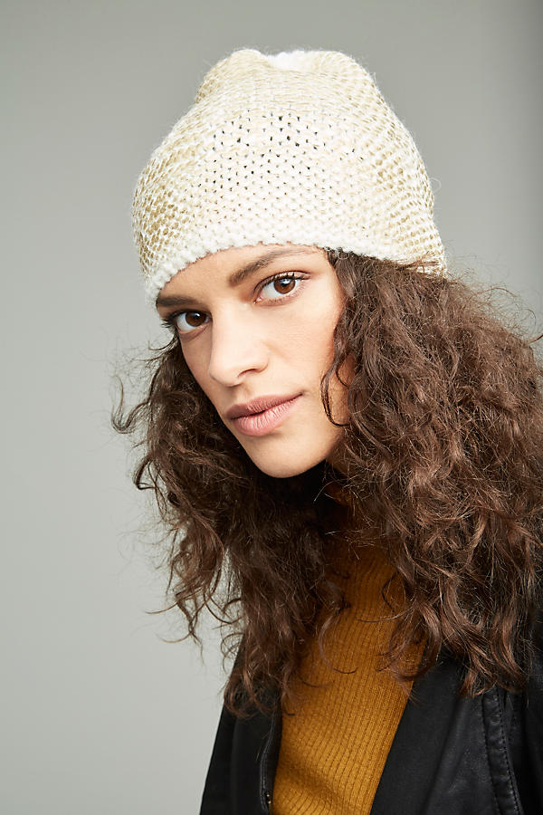 Slide View: 3: Sannita Metallic Knit Beanie