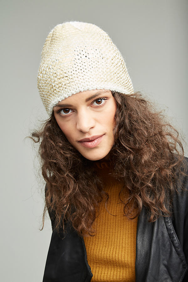 Sannita Metallic Knit Beanie - Gold