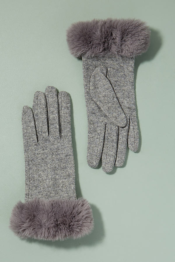 Faux Fur Cuff Gloves - Grey