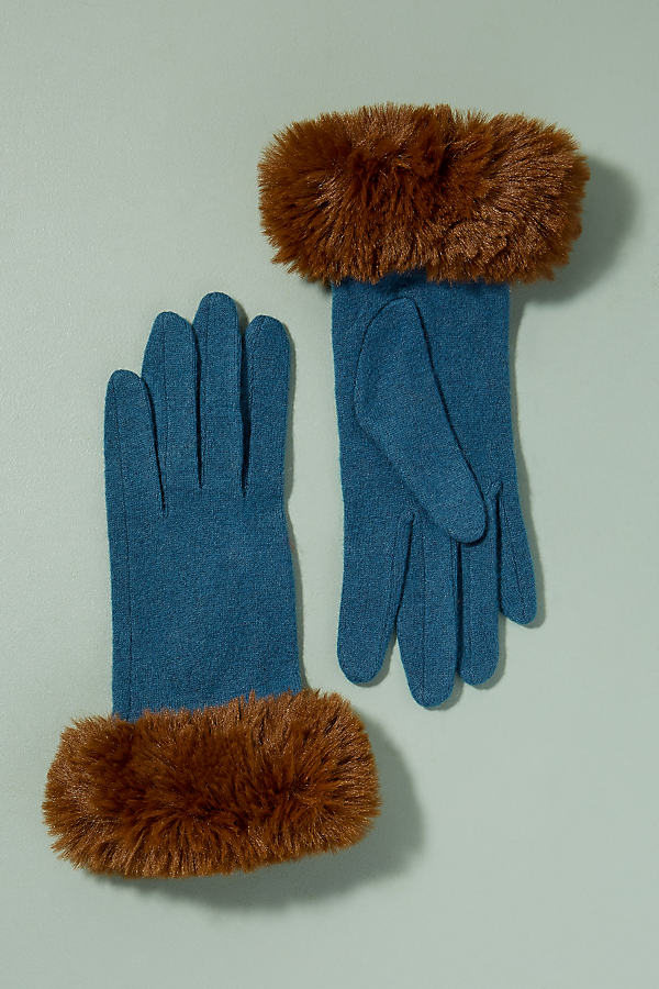 Faux Fur Cuff Gloves - Turquoise