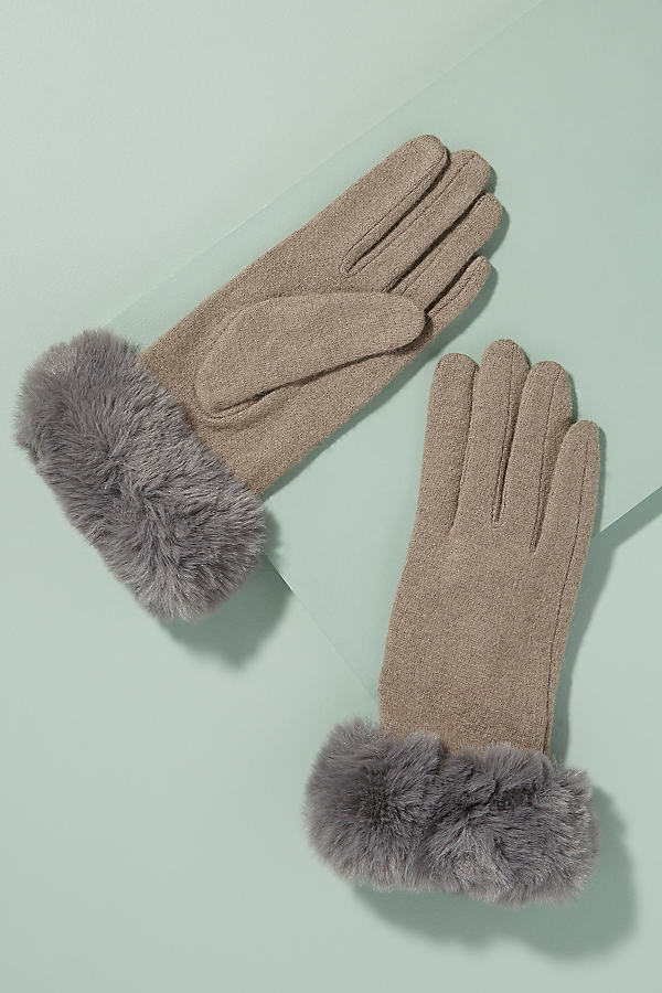 Faux-Fur Trimmed Wool Gloves - Beige
