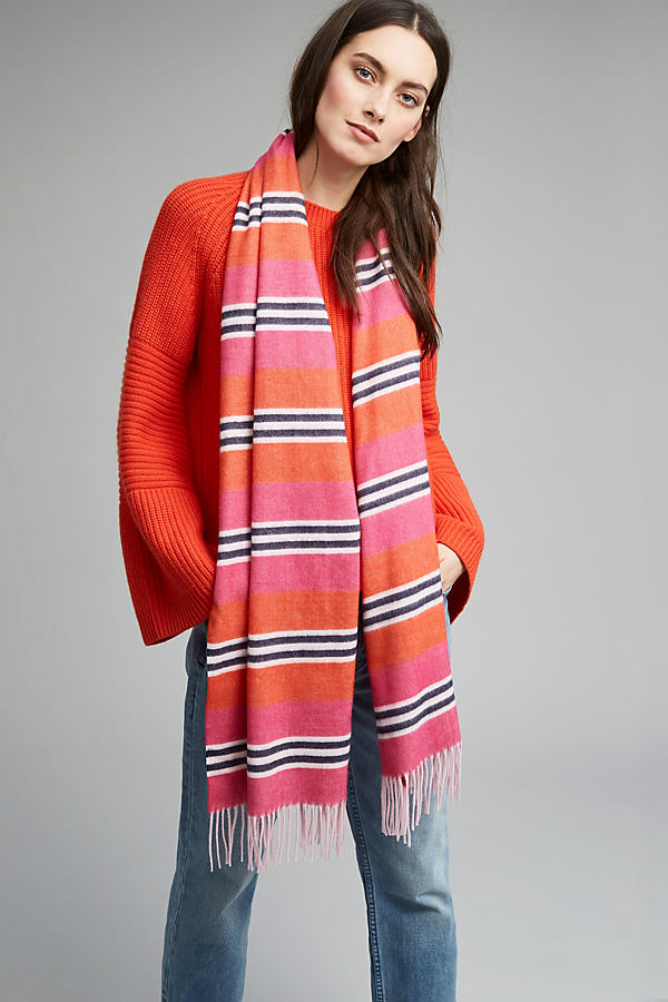 Jula Oversized Striped Scarf, Pink - Pink