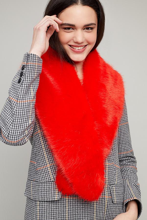 Esme Faux-Fur Collar - Red