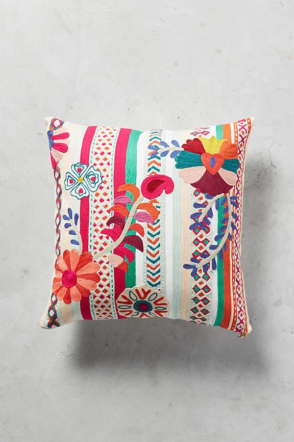 Celestina Embroidered Cushion - Turquoise, Size 18