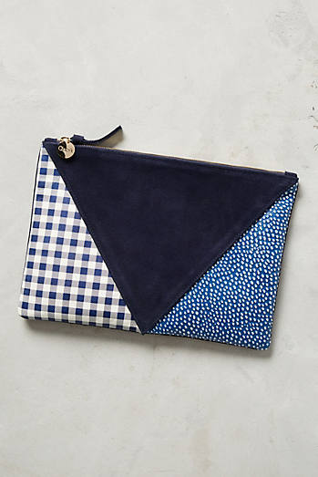 Clare V. Patchworked Prints Pouch