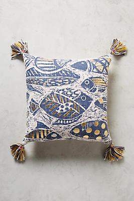 Slide View: 1: Foil-Printed Aquatic Pillow