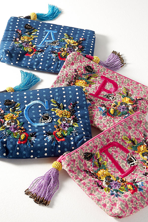 Embroidered Monogram Pouch - Assorted, Size J