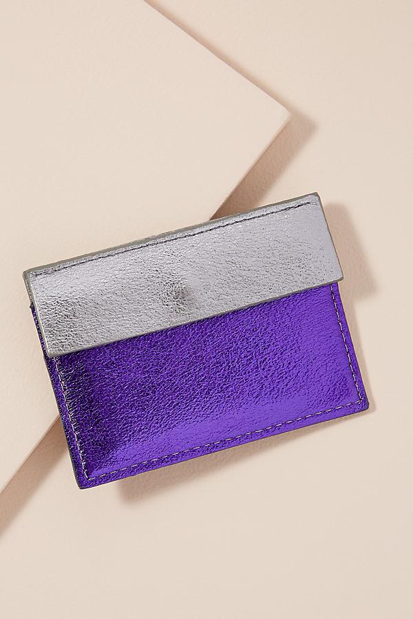Two-Tone Metallic Leather Cardholder - Purple
