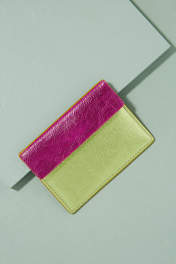 Two-Tone Metallic Leather Cardholder - Gold