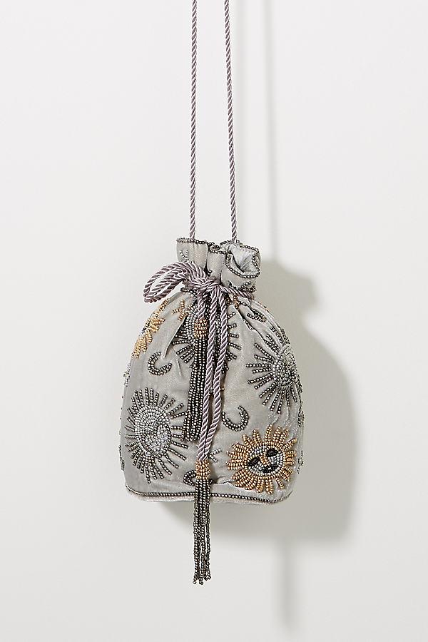 Sabine Velvet Sun & Moon Drawstring Bag - Grey