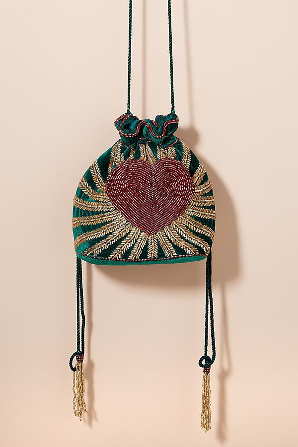 Heart-Beaded Velvet Drawstring Bag - Green