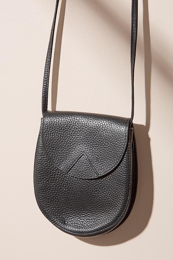 Mini Leather Saddle Crossbody - Black