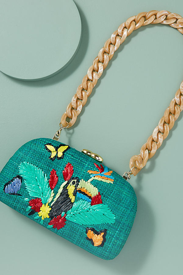 Mia Toucan-Embroidered Clutch - Blue
