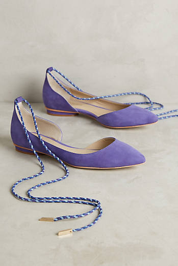 Guilhermina Suede Ankle-Tie Flats