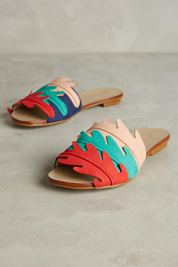 Slide View: 1: Guilhermina Scalloped Slide Sandals