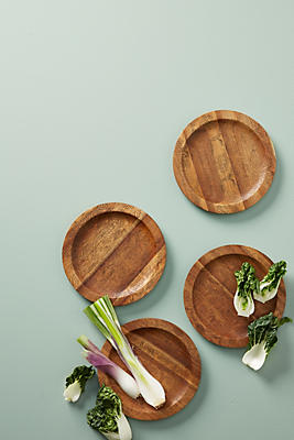 Slide View: 1: Etched Wood Canape Plate Set