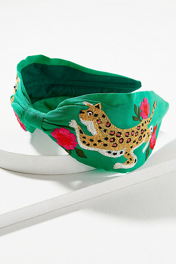 River Embroidered-Embellished Headband - Green