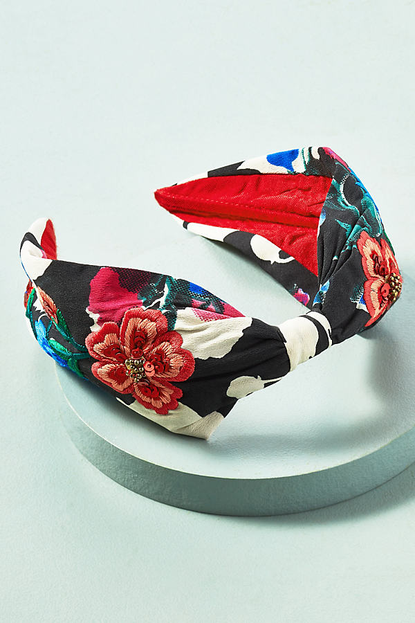 Embroidered Floral Headband - Black & White