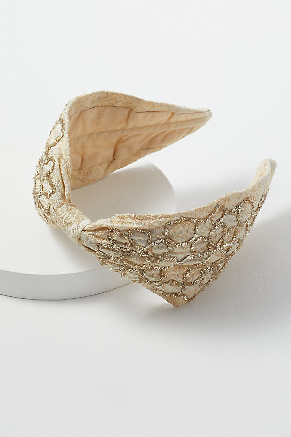 Embellished-Embroidered Jacquard Headband - Gold