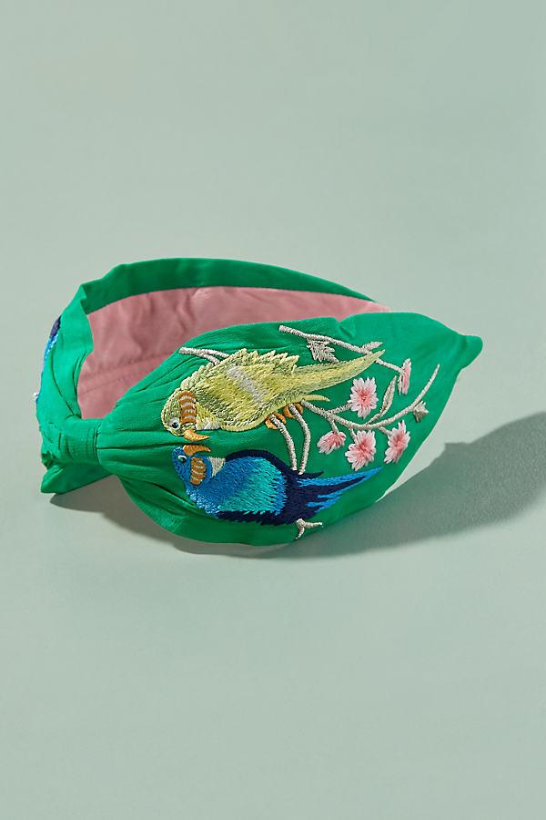Embroidered Birds of Paradise Headband - Green