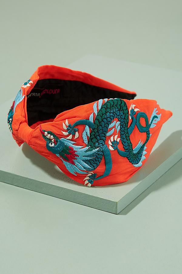 Minna Dragon-Embroidered Headband - Orange