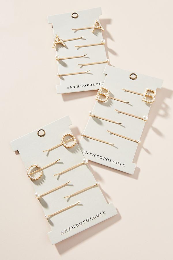 Monogram Pearl Bobby Pin Set - White, Size K