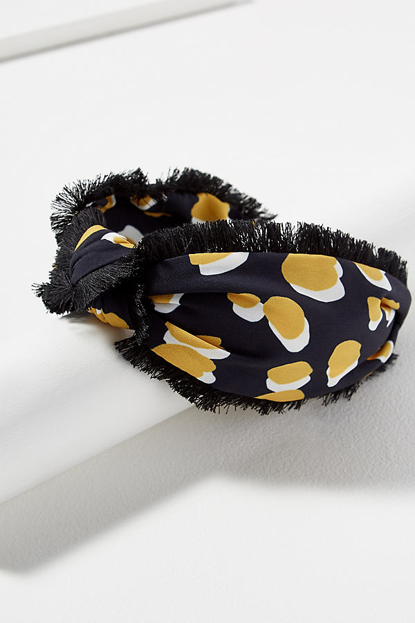 Fringed Polka Dot-Print Headband - Assorted