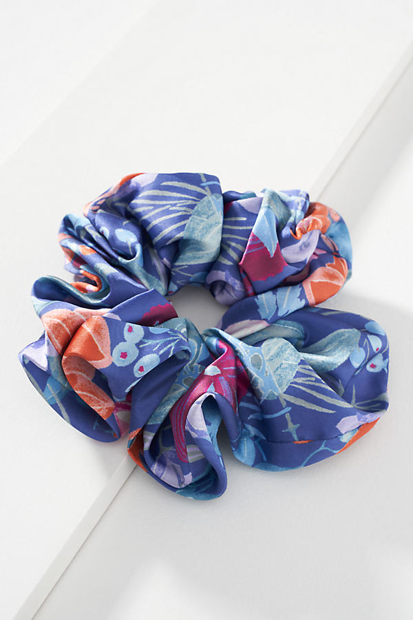 Blue Floral Oversized Scrunchie