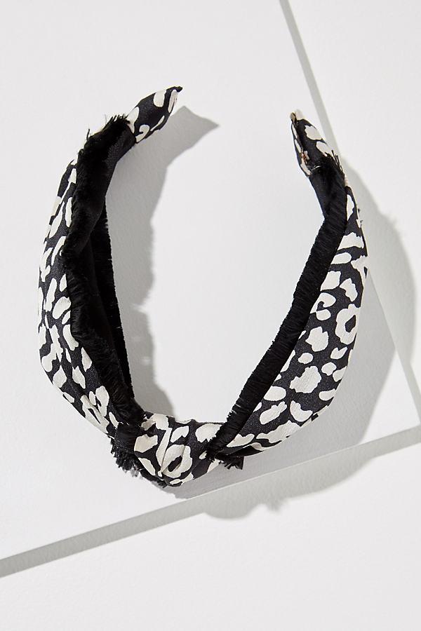 Fringed Leopard-Print Headband - Black