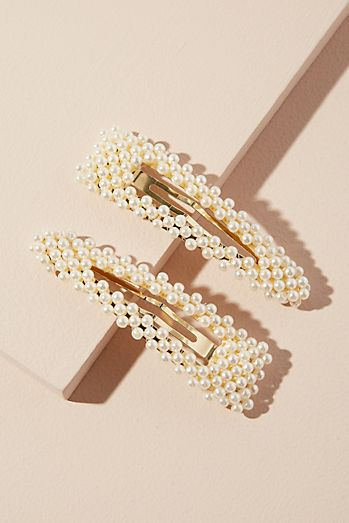 Set of Two Faux Pearl-Embellished Hair Clips ce9d88920c6
