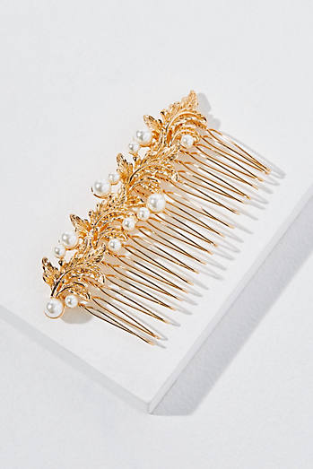 Faux Pearl-Embellished Hair Comb