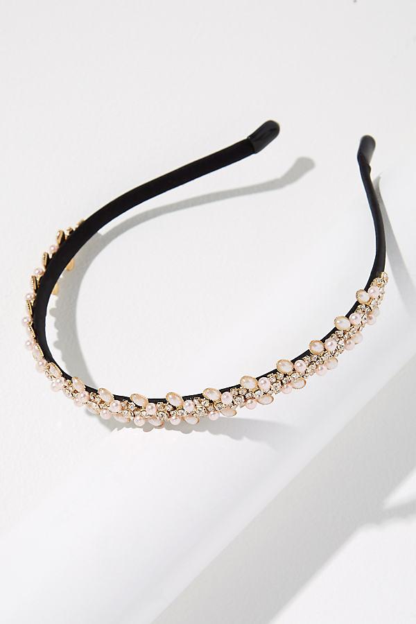 Thin Jewelled Headband - White