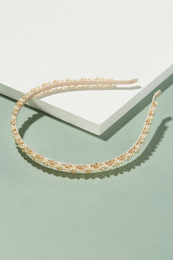 Bead and Pearl Embellished Headband - Pearl