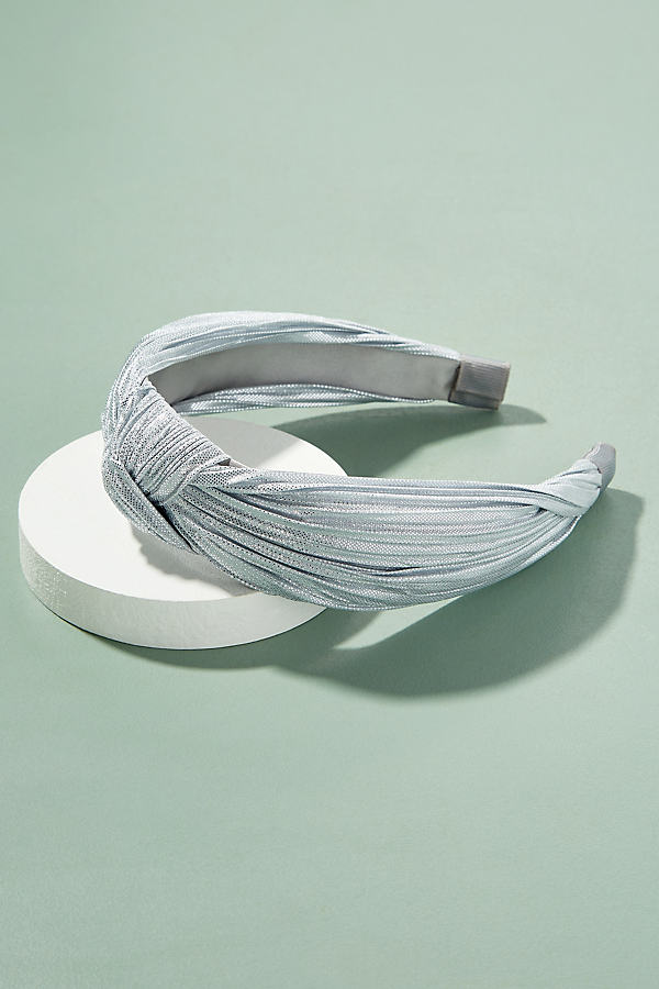 Metallic Pleated Headband - Silver