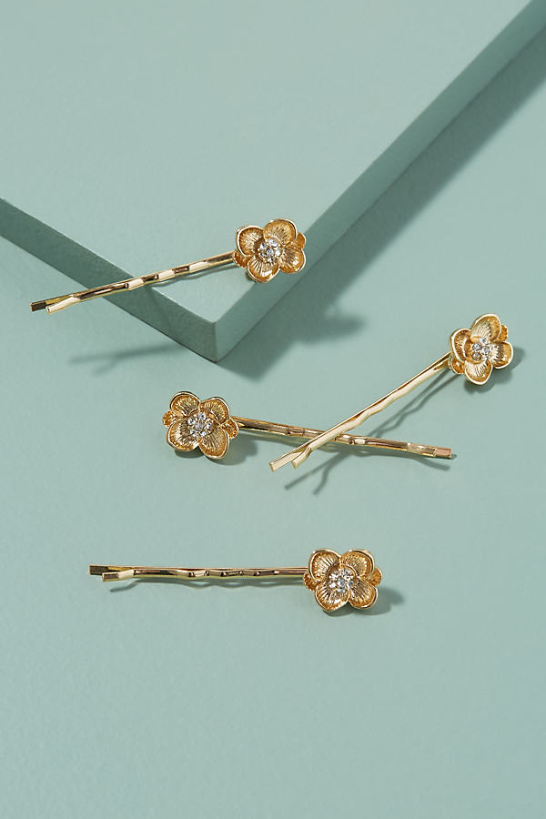 Pack of 4 Flower Bobby Pins - Gold