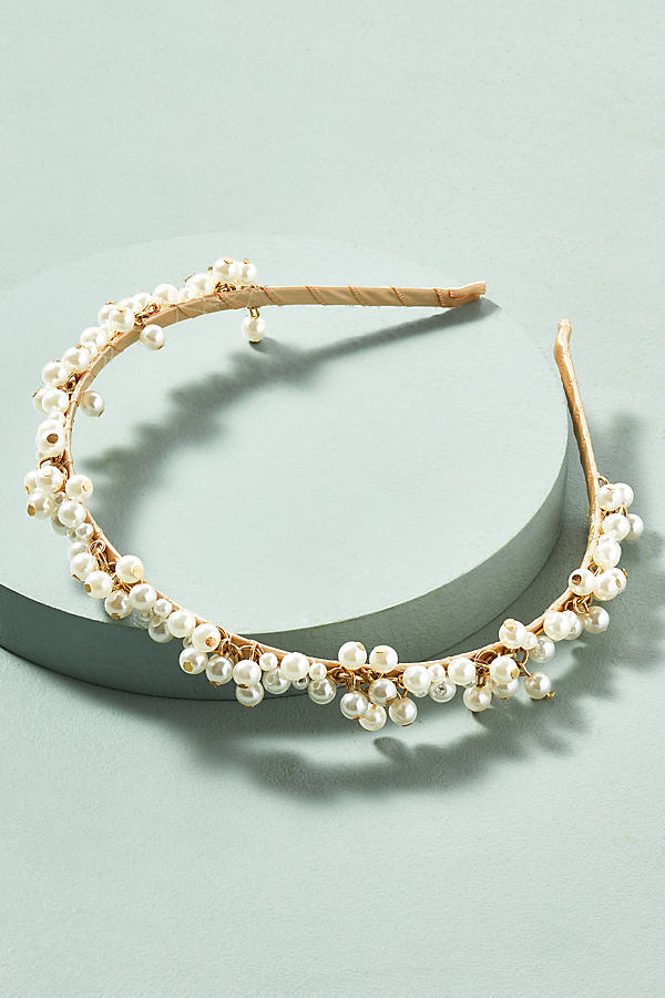 Faux Pearl-Embellished Headband - Gold