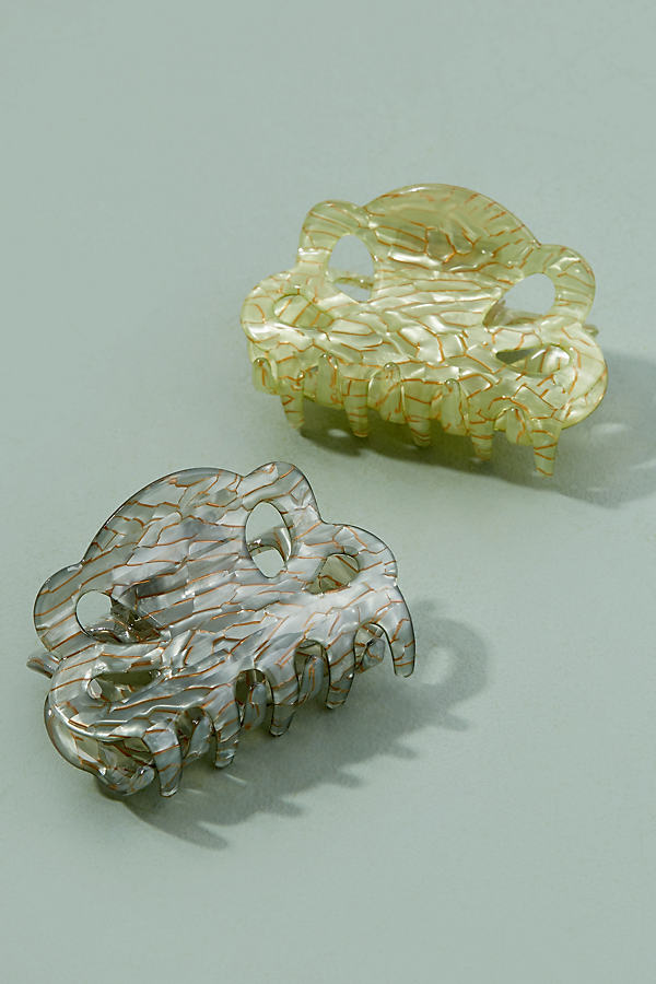 Set of Two Metallic Hair Clips - Green
