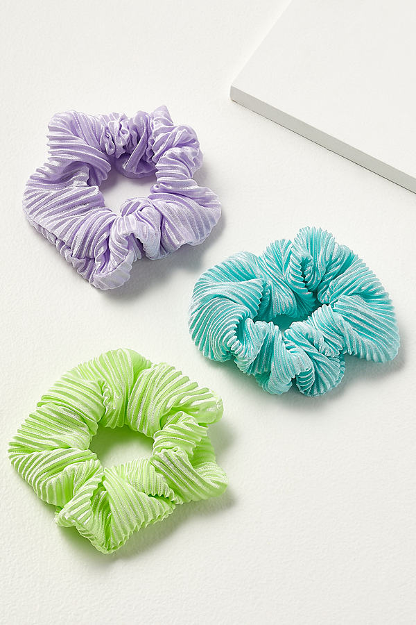 Pack of 3 Neon Pleated Scrunchies - Green
