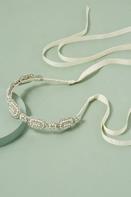 Embellished Ribbon Tie Headband by Anthropologie