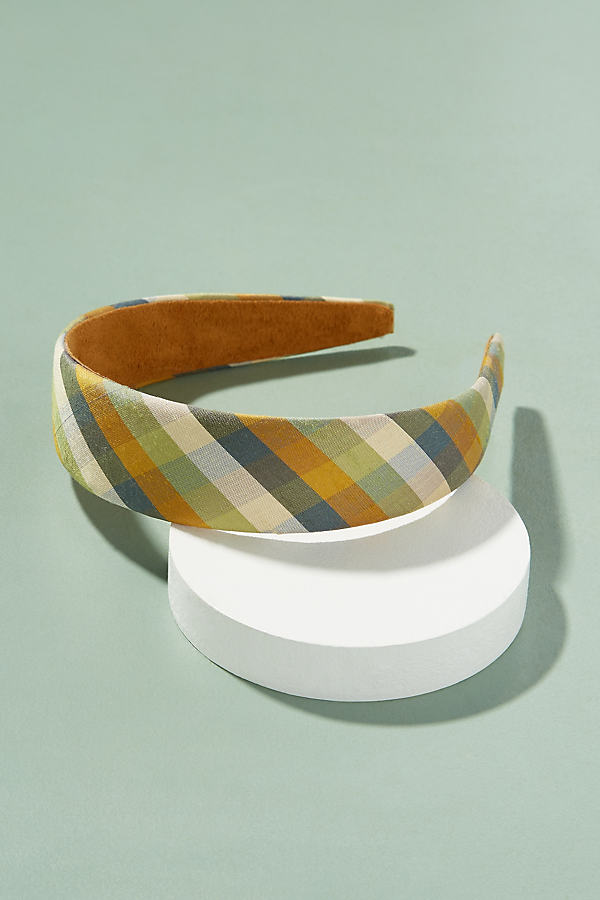 Natasha Checked Headband - Blue Motif