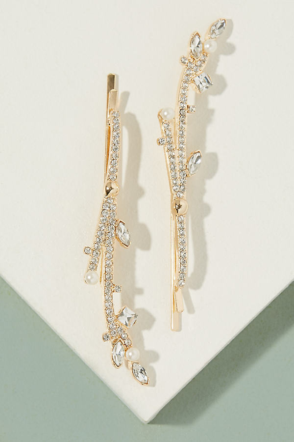 Set of Two Embellished Hair Clips - Gold