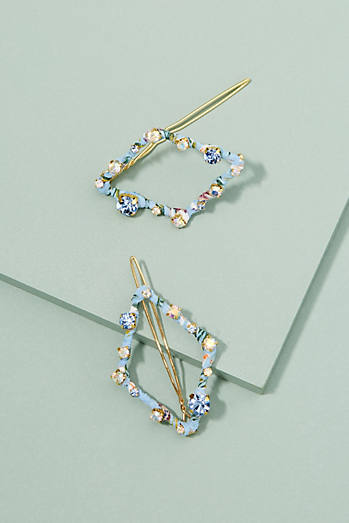 Set of Two Jewelled Hair Clips