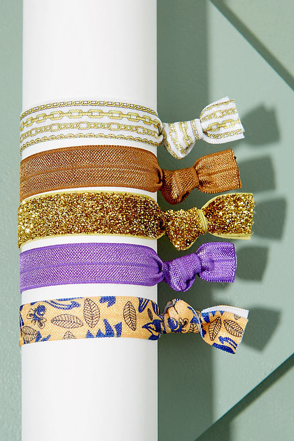 Pack of Five Hair Bands - Purple Motif