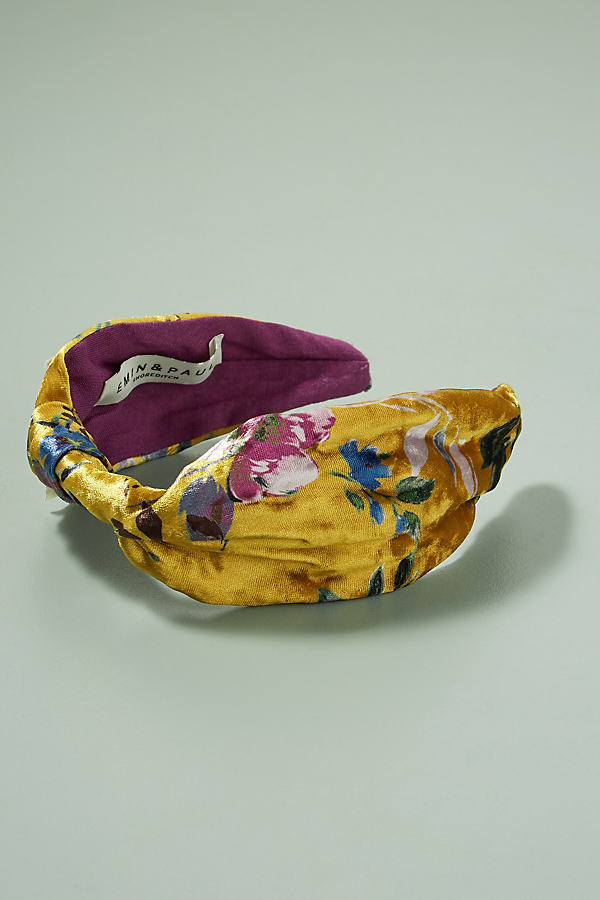 Floral Velvet Headband - Yellow Motif
