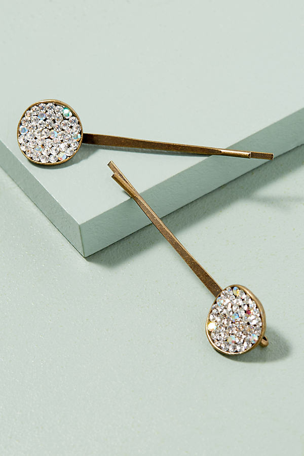 Agatha Crystal Hair Slides - Gold