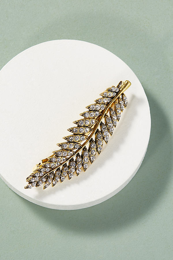 Leaf Crystal Embellished Barrette - Gold