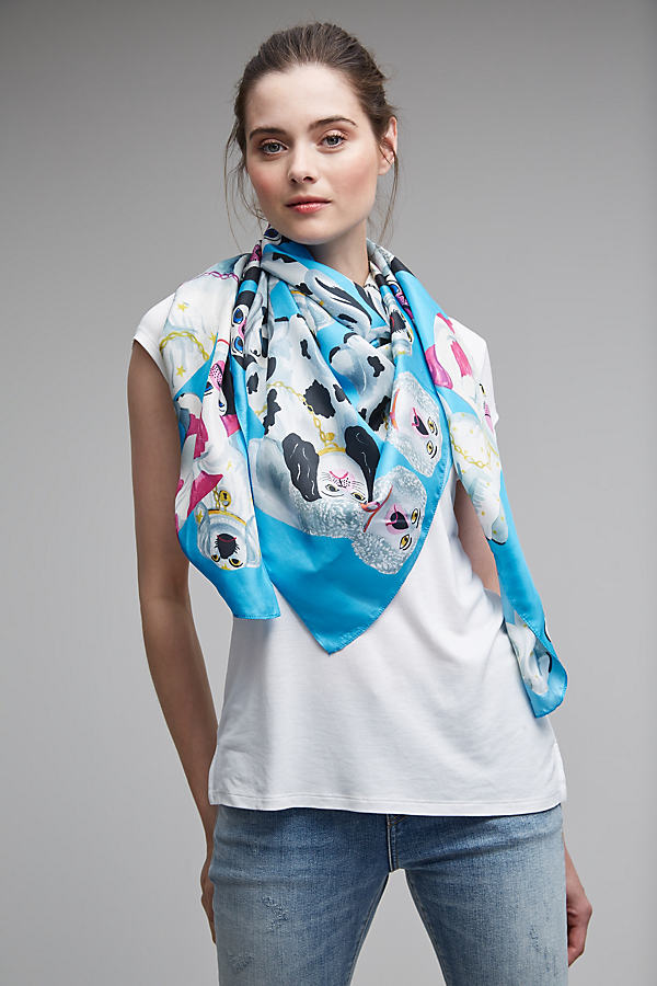Joanie Dog Print Silk Scarf - Blue