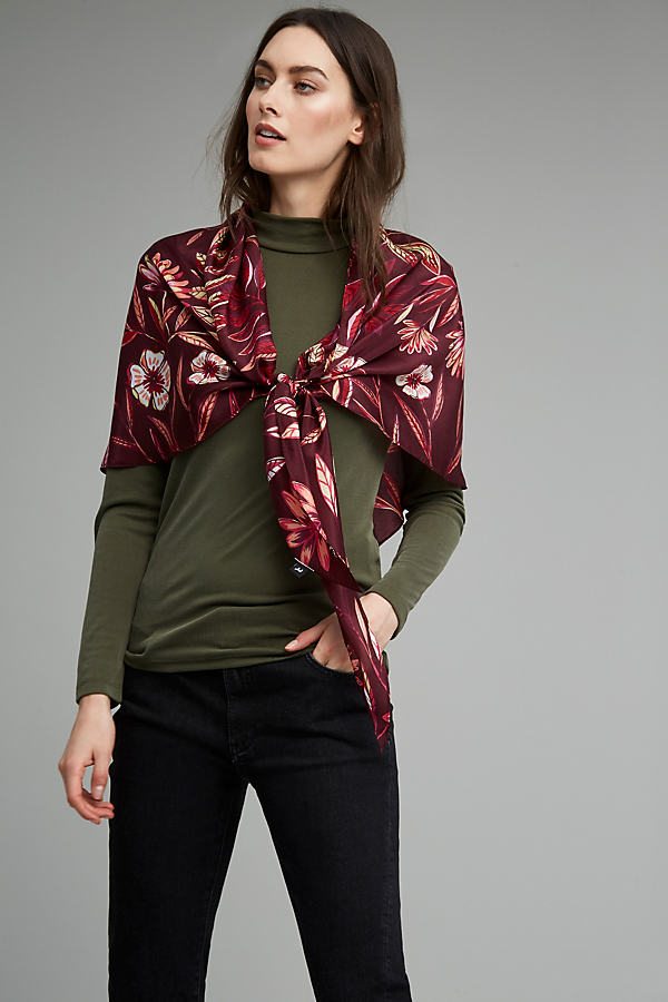 Marianne Floral Silk Triangle Scarf - Wine