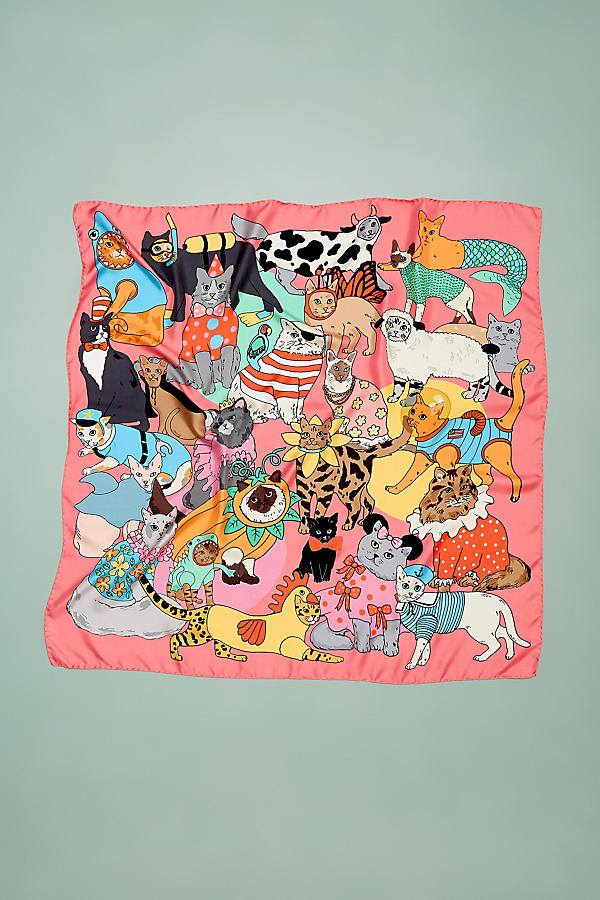 Slide View: 2: Karen Mabon Cats Disguised Silk Scarf
